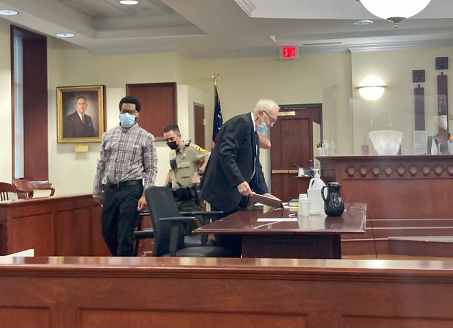 In Onslow County Superior Court, on Oct. 7, 2021, Steven McCarty, left, was found guilty by jury of murdering brothers DeAndre and Tyler Gilbert in May 2016.