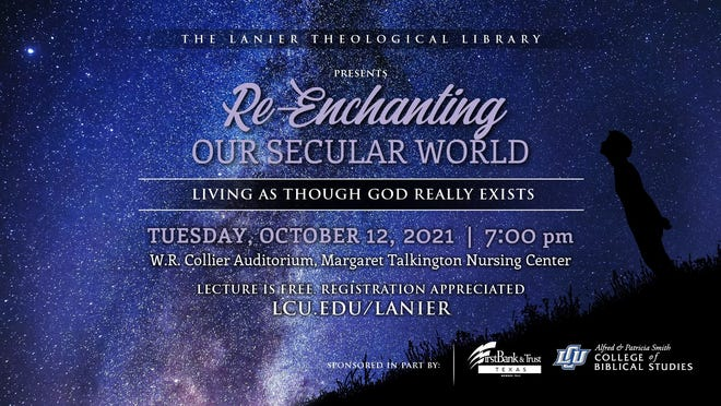 """Lubbock Christian University will host Dr. Paul Copan for the Tenth Annual Lanier Theological Library Lecture, """"Re-Enchanting our Secular World: Living as Though God Really Exists"""" at 7 p.m. Tuesday in the Margaret Talkington Center for Nursing Education, on the LCU campus."""