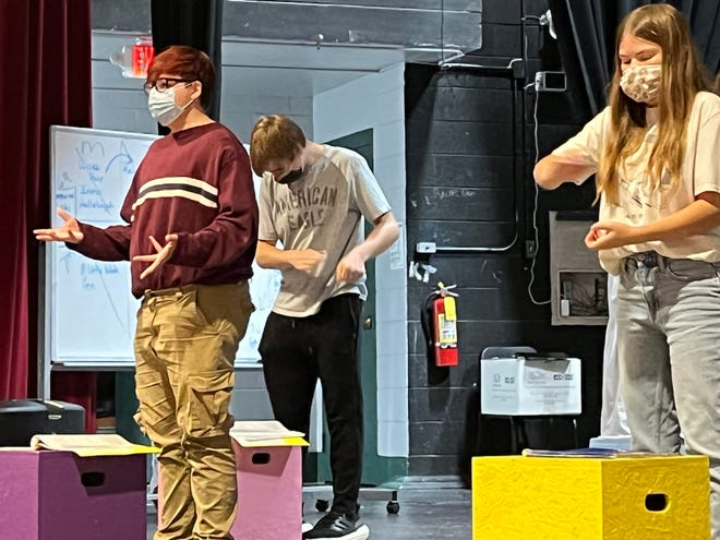 """LCHS students practice a scene from """"All I needed to know is what I learned in Kindergarten"""" that opens Oct. 14."""