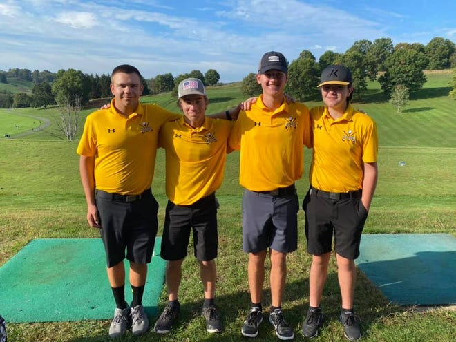 Keyser finished in fourth place overall with Noah Broadwater earning all-state honors. Pictured (l-r) are Dylan Wilson, Noah Broadwater, Drew Matlick, and Evan Ack.