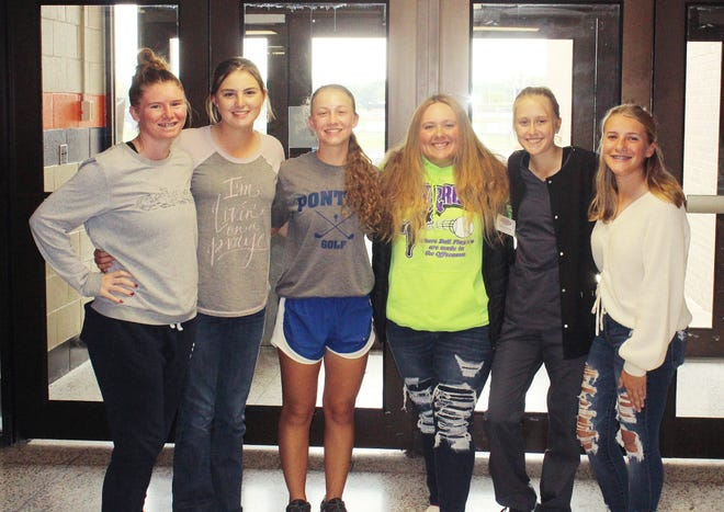 The young ladies of the Pontiac girls' golf team, from left Aliya Leonard, Libby Larkin, Danio Grace Schrock,Rylee Zimmerman, Addi Mauser and Abby Matern, have set the standard for the program for years to come after winning a conference title, regional title and establishing the three lowest team scores in program history. All that remains is Schrock's drive to win her second individual state title this weekend.