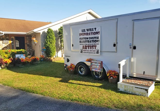 Christy Williams' new mobile art trailer for her art business. The trailer will act as a pop-up store as well as mobile store she can take to events as a vendor.
