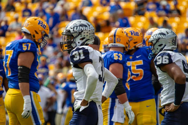 UNH cornerback Jonathan Collins Jr. looks to the sidelines during the Wildcats' game last month against the University of Pittsburgh at Heinz Field.