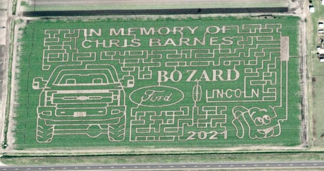 The design for this year's Sykes Family Farms corn maze pays tribute to Chris Barnes, a local farmer and close family friend of the Sykes' and the larger Hastings community who passed away in February.