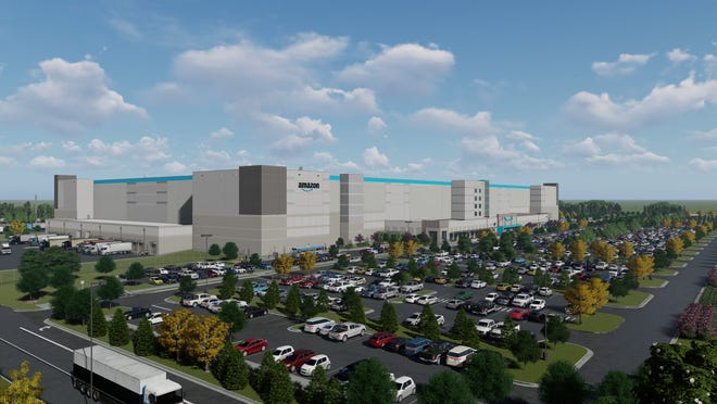 This is an artist's rendering of the 800,000-square-foot Amazon fulfillment center that will be built in Elkhart County.