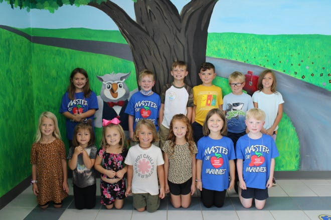 September Masters of Manners for Bethel Lower Elementary are, front row from left to right, Kallie Campbell, Maggie Beard, Cheyann Holliday, Tanner Duff, Kyndell Bowles, Julianna Kuchynka, Jackson Lees.  Back Row: Annabelle Lee, Beckham Collins, Greyson Brown, William Burnett, Ryder Bolding, Marley Ketcherside.  Not pictured: Leila Burnett, Taylyn Speers.