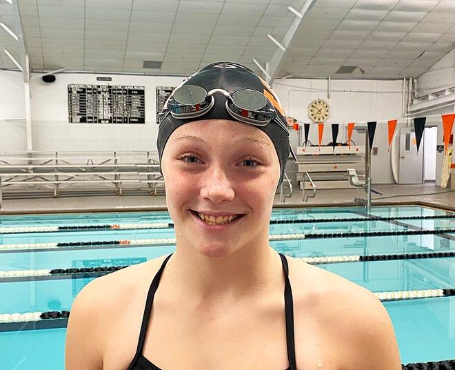 Kaylee Draper, freshman at Sturgis High School, will swim in the 100 backstroke event at the MISCA meet Saturday at Calvin University.