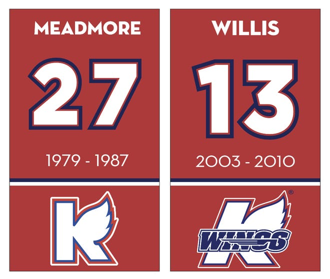 The Kalamazoo Wings will retire a pair of jerseys with separate ceremonies for Neil Meadmore and Tyler Willis.