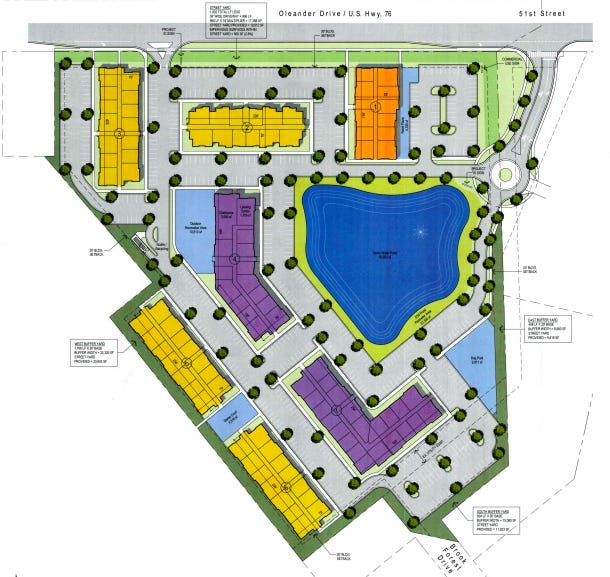 Site plans for a proposed multi-use development at 5026 Oleander Drive.