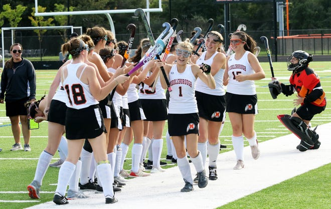 Middleboro High School field hockey with their pre-game ritual.