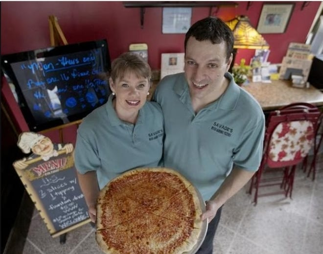 Pam and Doug Savage will celebrate their 10th year as owners of Savage's Woodburning Pizzeria on Oct. 17, 2021.