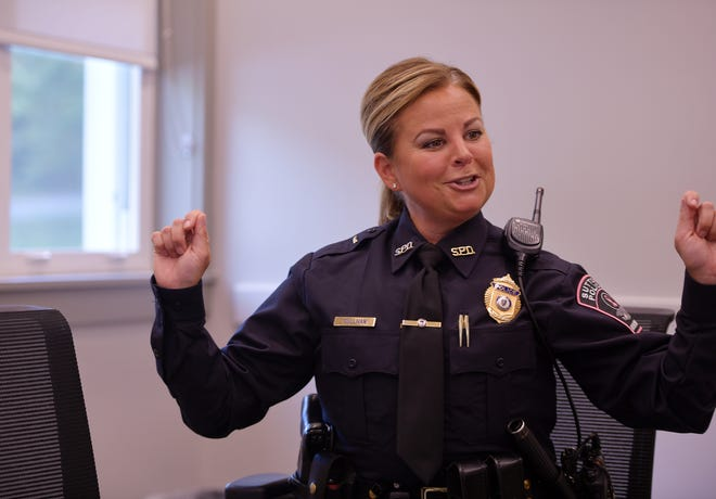 Sutton Police Lt. Lisa Sullivan talks about her breast cancer experience Wednesday.
