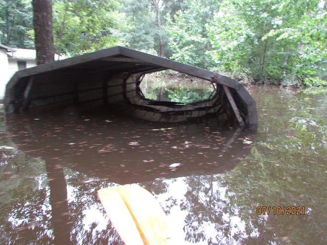 The carport at the home of Larry and Pam Croy, three days after it was flooded during Tropical Storm Elsa.