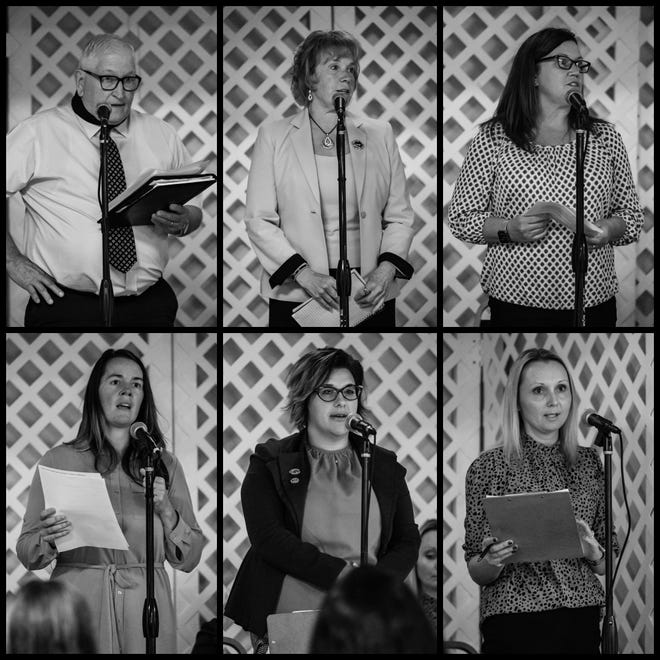 In this composite image, Claymont Board of Education candidates speak during a public question and answer  forum, Wednesday, Oct. 6, 2021 at the Uhrichsville Elks Lodge. Pictured from top left: Austin Beckley, Lois Grandison, Lucinda Host, Nikita Richardson, Michelle Sproul, and Michelle Wolf.