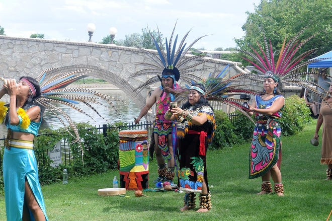 Grupo Xochitl performs a traditional Aztec dance at the 2019 Pueblo Multicultural Festival.