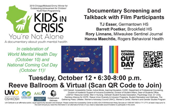 """""""You Are Not Alone,"""" an Emmy-winning documentary by USA TODAY NETWORK-Wisconsin and Milwaukee PBS, will be featured during a screening and panel discussion Tuesday, Oct. 12, 2021, at the University of Wisconsin-Oshkosh."""