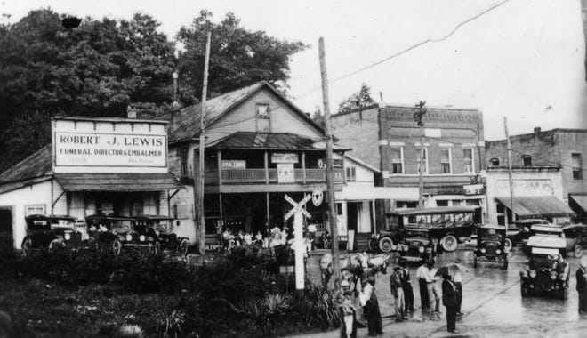 This ca. 1920s photograph from the Swannanoa Valley Museum & History Center shows the Robert J. Lewis funeral home on Sutton Avenue.