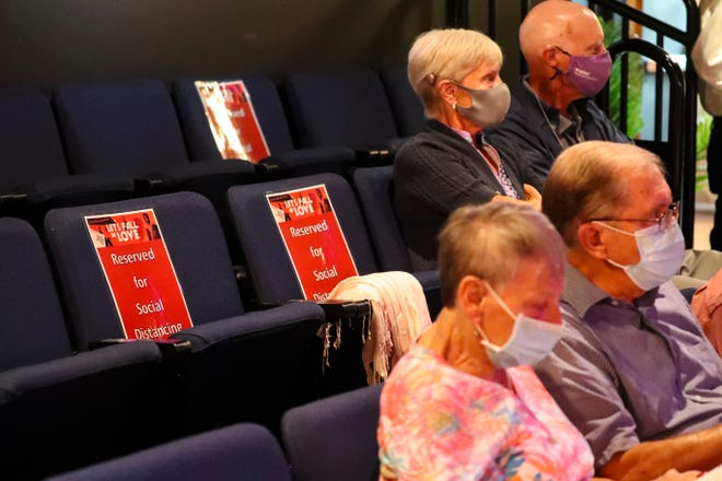 """Some seats were blocked off, but because of the masks and testing/vaccination requirements the theater felt they could seat more people in the room. The COVID rules are all over the place at Southwest Florida theaters, concert halls and other entertainment venues. Florida Rep has a strict new COVID policy: Both masks and either a negative COVID test or proof of vaccination are required. Audiences arrived for the show """"Let's Fall in Love."""" A list has been started at the Florida Repertory Theatre of anyone who is vaccinated so they don't have to bring their card each show. The feeling Wednesday night is everyone was just happy to be back in the theater."""