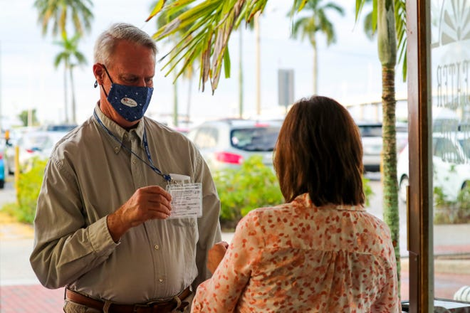 Jim Rodenfels and his wife, Teddy, wore their vaccination cards to a recent show at Florida Repertory Theatre. The Fort Myers theater has a strict new COVID policy: Both masks and either a negative COVID test or proof of vaccination are required.