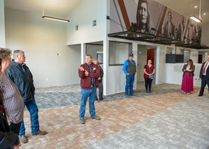 Little Shell Chippewa Tribe Chairman Gerald Gray welcomes guests to what will be the new Little Shell Tribal Health Clinic at 425 Smelter Ave. NE.
