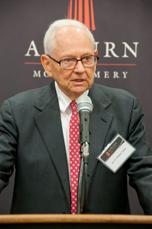 Watson Robbins Taylor speaks at the dedication of AUM's renovated Taylor Center in 2013.
