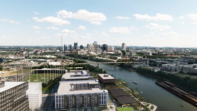 A rendering of the finished 13-acre River North development behind Topgolf on downtown Nashville's east bank.