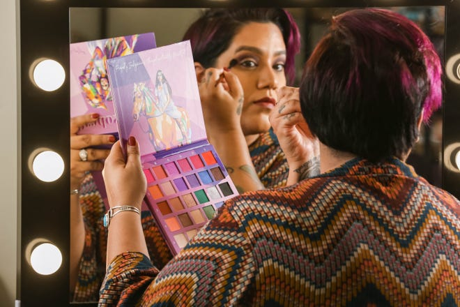 CeCe Meadows applies makeup from the Matriarch Collection at Prados Beauty in Las Cruces on Thursday, Oct. 7, 2021.