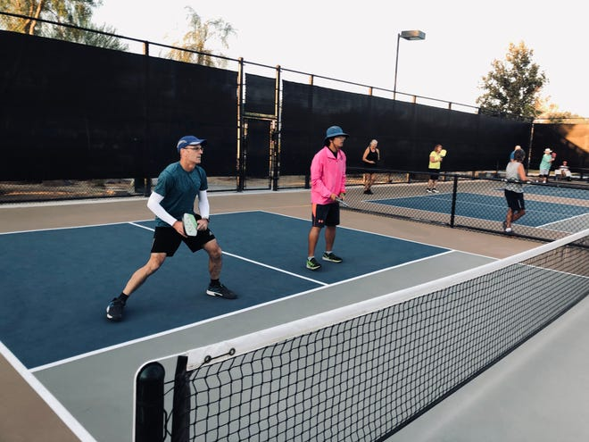 Players compete in the the Fall at Freedom Pickleball Round Robin Tournament on Sunday, Oct. 3, at Freedom Park in Palm Desert, Calif.