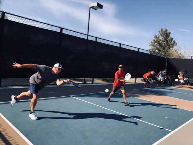 Players compete in the Fall at Freedom Pickleball Round Robin Tournament on Sunday, Oct. 3, at Freedom Park in Palm Desert. If you want to compete in tournaments this winter, there are more opportunities with the Desert Pickleball League.