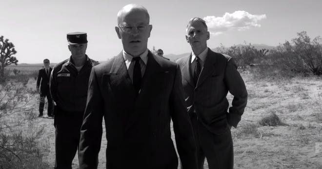 """President Dwight D. Eisenhower, played by Neal McDonough, leaves a golf vacation in Palm Springs to see a downed aircraft north of Edwards Air Force Base in """"American Horror Story: Double Feature."""""""