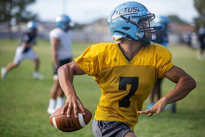 Cactus High School Football Quarterback Will Galvan at Football Practice in Glendale, AZ at the Cactus High School Practice Fields on October 5, 2021