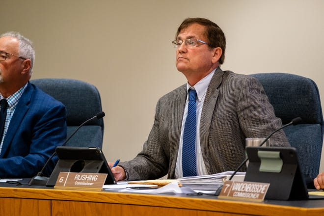 Commissioner David Rushing listens to public comment during a board of commissioners meeting Thursday, Oct. 7, 2021, in Port Huron. Last month, Rushing introduced a resolution asking the county's administrator to issue a letter requesting the county's public health officer rescind a COVID-related health order.