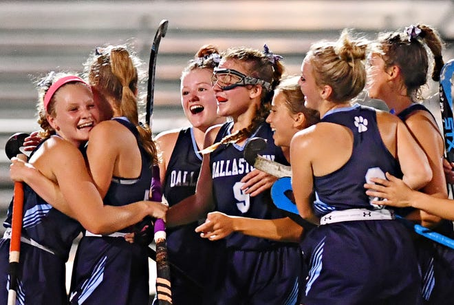Dallastown celebrates a 2-0 win over Central York during field hockey action at Central York High School in Springettsbury Township, Wednesday, Oct. 6, 2021. Dawn J. Sagert photo