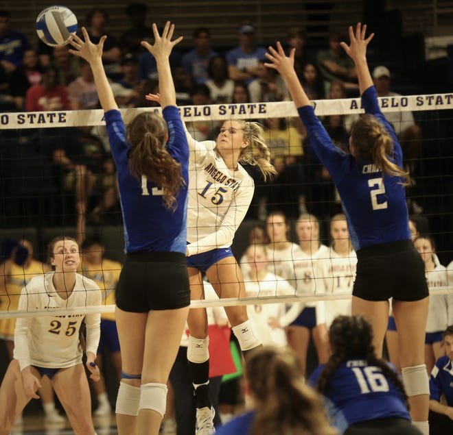 Angelo State University's Elsa Lamphere, 15, goes up for an attack during a match against Lubbock Christian at the Junell Center on Wednesday, Oct. 6, 2021.