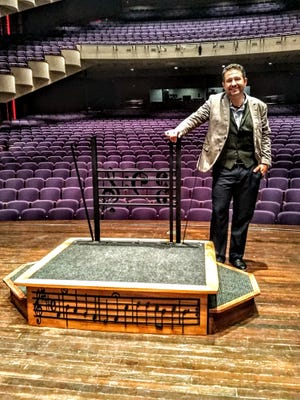 Josh Brower, DDS, woodworked and unveiled this new podium for South Dakota Symphony Orchestra on October 2, 2021.