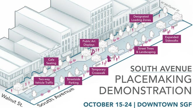 Artist rendering of proposed changes to South Avenue between McDaniel and Walnut Street in downtown Springfield.
