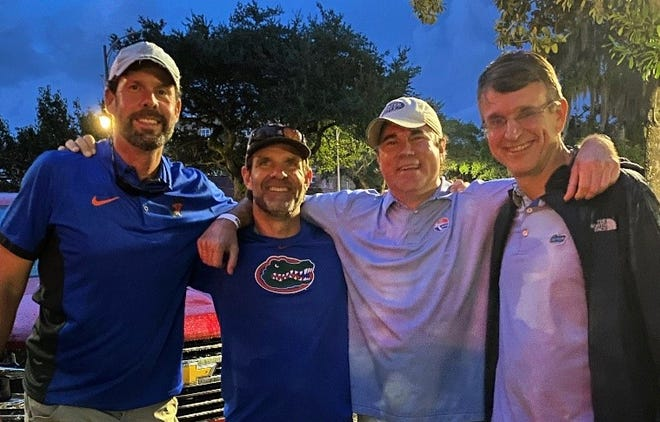 Tally native Quinn Toulon on the left with Blake Dowling and other college friends still hanging out 30 years later.