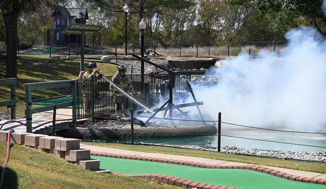 Wichita Falls firefighters extinguish a fire that destroyed a feature of the park's miniature golf course. Cause of the fire is unknown at this time.