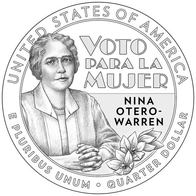 """Nina Otero-Warren is seen on one of the new designs for the """"American Women Quarters."""" The American Women Quarters Program is a four-year program that celebrates the accomplishments and contributions made by women to the development and history of our country. Beginning in 2022, and continuing through 2025, the U.S. Mint will issue up to five new reverse designs each year. The obverse of each coin will maintain a likeness of George Washington, but is different from the design used during the previous quarter program.The American Women Quarters may feature contributions from a variety of fields, including, but not limited to, suffrage, civil rights, abolition, government, humanities, science, space, and the arts. The women honored will be from ethnically, racially, and geographically diverse backgrounds. The Public Law requires that no living person be featured in the coin designs."""
