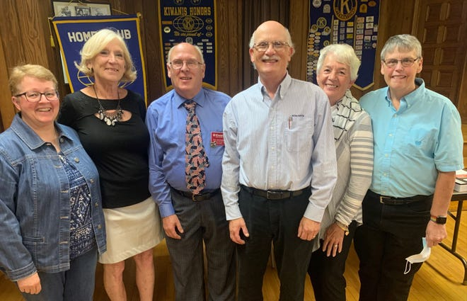New Alliance Kiwanis Club officers and board members were installed by Kiwanis District Governor Tom Stahlheber during Thursday's meeting at the Alliance YWCA. New officers, from left, are Betsy Brown, secretary; Pat Gates, past president; Gov. Stahlheber; Jim Perone, treasurer; Lynda Slack, president; and Haggy Hageman, president elect.
