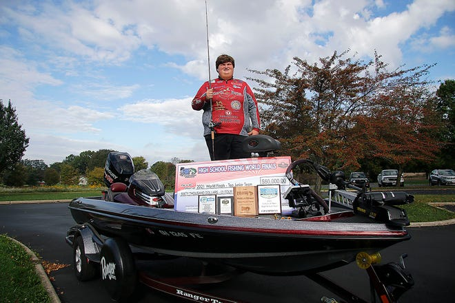 Crestview High School senior Brett Hill is competing, who is competing in a bass fishing tournament next weekend is seen here on Friday, Oct. 8, 2021. TOM E. PUSKAR/TIMES-GAZETTE.COM