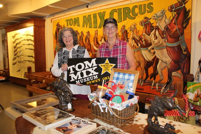 Betty Keim, left, and Fawn Lassiter saddle up for Tom Mix Roundup Days Oct. 15-16.