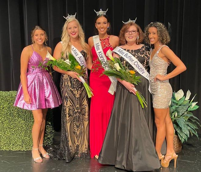 From left to right: Augusta's Teen Candidate Emmie Johnston, Miss Augusta 2022 Anna Holman, Miss Kansas 2021 Taylor Clark, Miss Butler County 2022 Sierra Marie Bonn, Butler County's Teen Candidate Grace Isch.