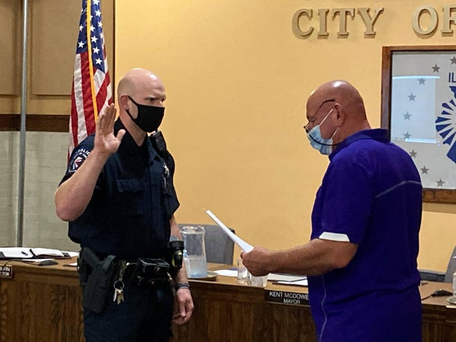 Josh Twidwell was recently sworn in by Mayor Kent McDowell as Canton's newest police officer.
