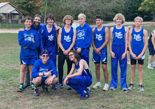 The Mackinaw City boys cross country team captured a Northern Lakes Conference title on Thursday. Members of the team include, back from left, Ben Strittmatter, head coach Will Barrett, Jaren Valot, Trystan Swanson, Noah Valot, Cooper Whipkey, Isaac Valot, Chase Swanson, front from left, Lars Huffman and Jeffrey Siebigteroth.