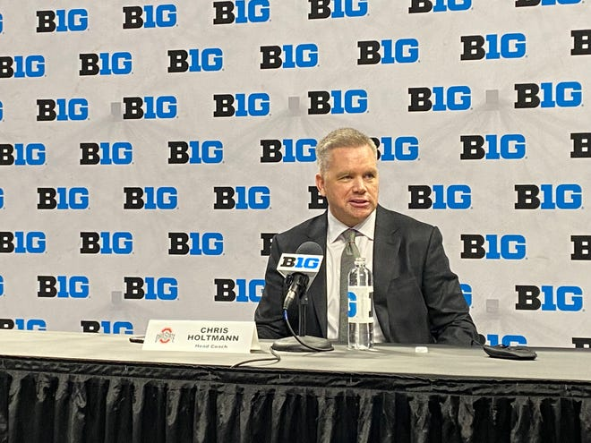 Ohio State men's basketball coach Chris Holtmann speaks at Big Ten media day at Gainbridge Fieldhouse in Indianapolis on October 7, 2021.