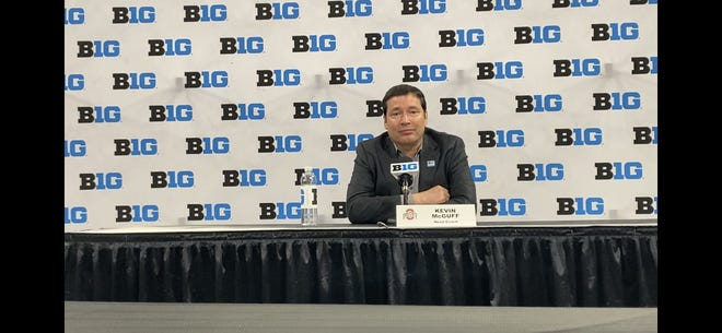 Ohio State women's basketball coach Kevin McGuff speaks at Big Ten media day at Gainbridge Fieldhouse in Indianapolis on October 7, 2021.