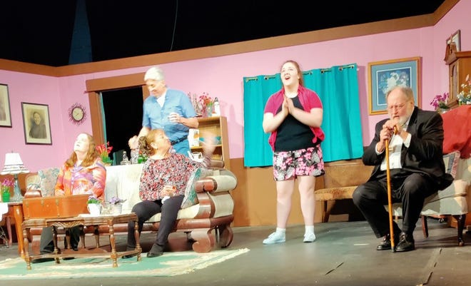A rehearsal scene from Encore Theatre's production of the comedy play 'Let Him Sleep 'Til It's Time for His Funeral,' which runs this weekend and next weekend at the Sermon Center in Independence.