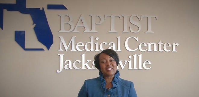 Nicole Thomas, president of Baptist Medical Center Jacksonville, provides the keynote speech at the 2021 EVE Awards.