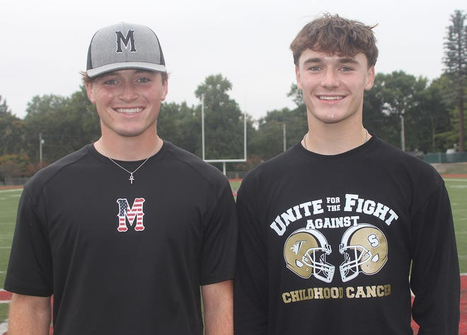 Addison (left) and Charlie Fletcher are both having memorable football seasons. Addison is doing so at Monmouth College while Charlie is for Monmouth-Roseville High School.